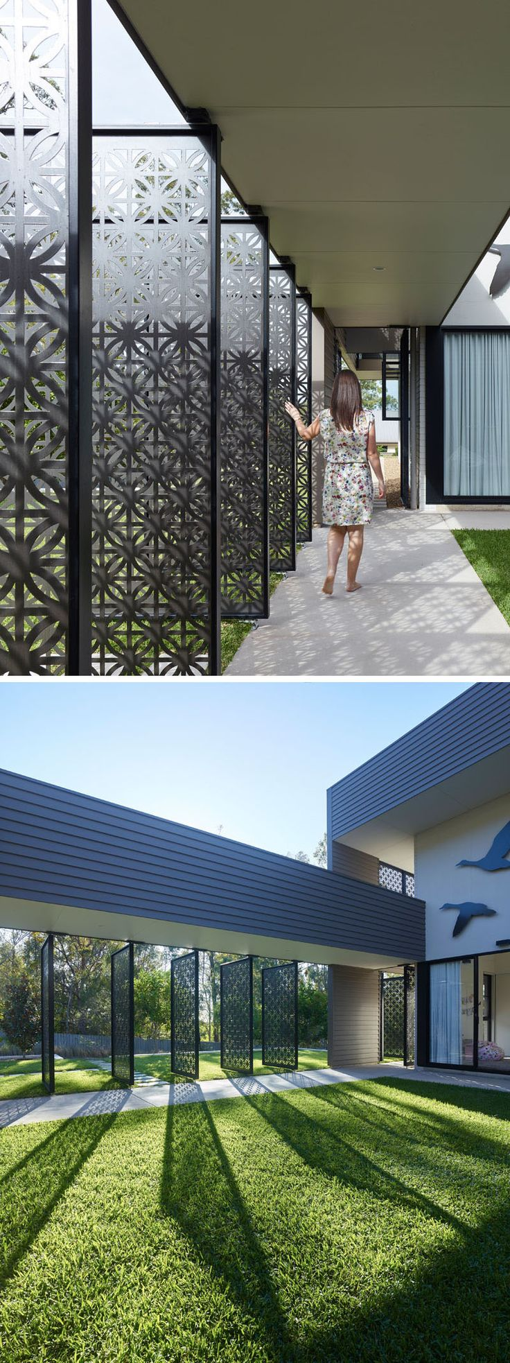 Hamptons beach house with elegant metal screen modern house designs - Decorative Laser Cut Screens Are Displayed Throughout This Australian House