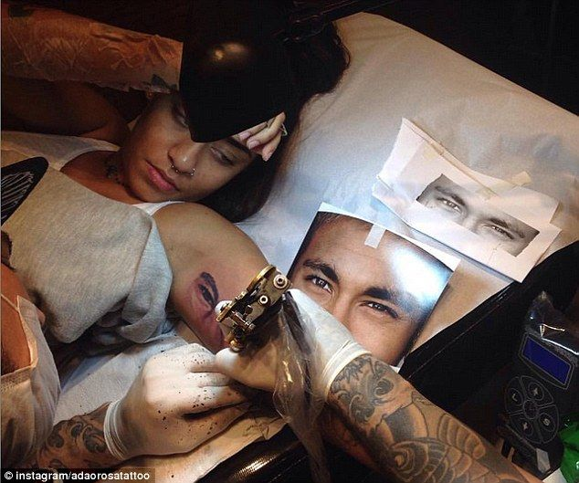 Neymar's sister Rafaella has had a tattoo of his eyes inked on her left arm in homage to h...