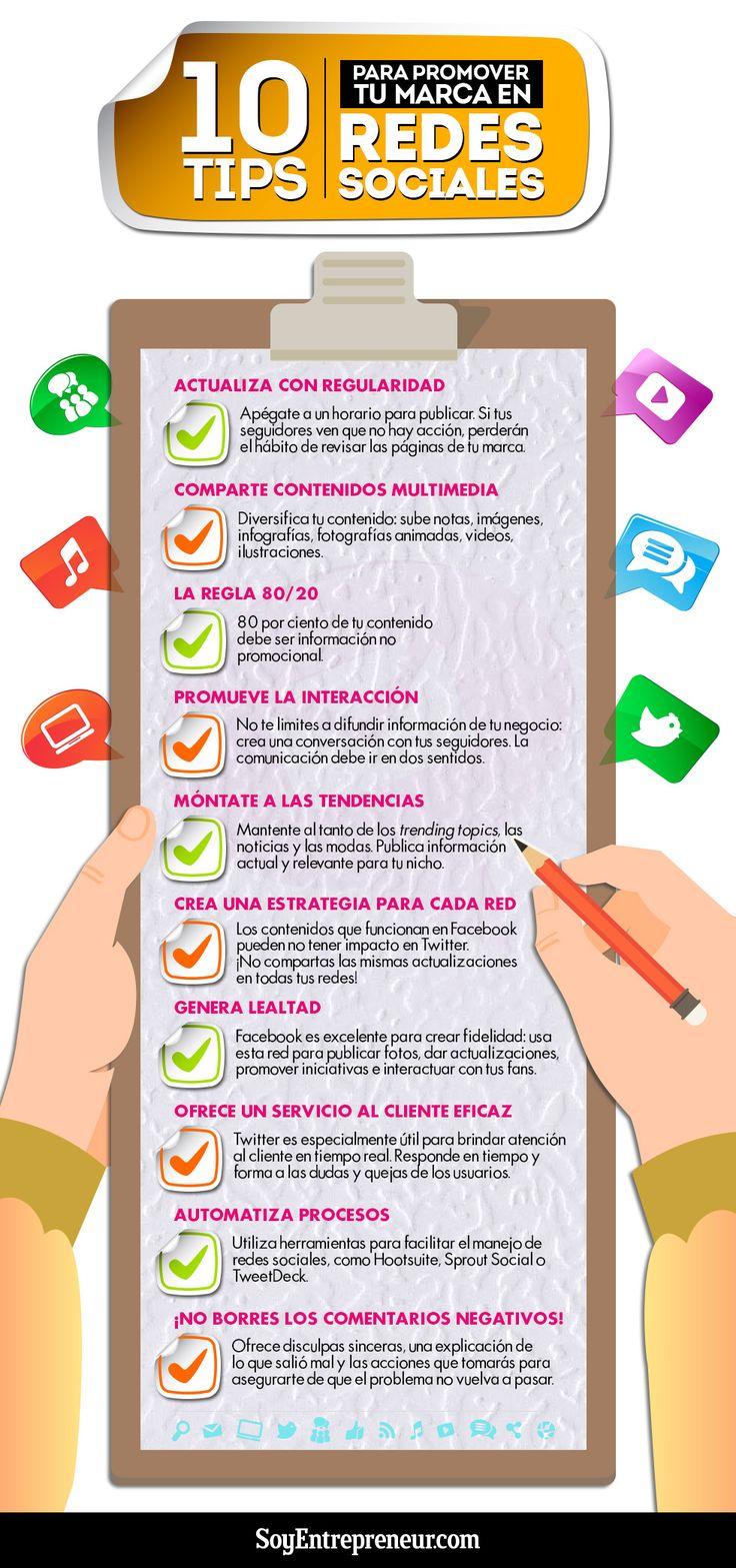 10 tips para promocionar tu marca en redes sociales.   Via SoyEntrepreneur /// #VitalSmartSM #VitalSmartMkt Alvaro A. Vergara Bedoya DBM&DDBV Digital