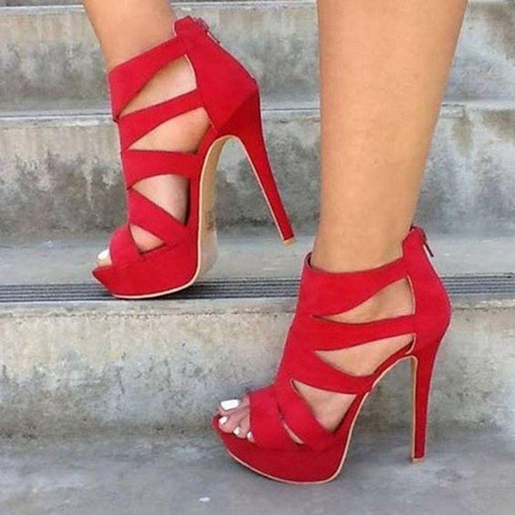 Shoespie Red Cut Out Open Toe Platform Heels