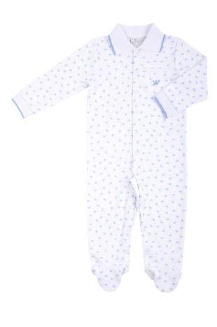 Pijama tipo mono, para bebe niño, con estampado de coronitas azules.