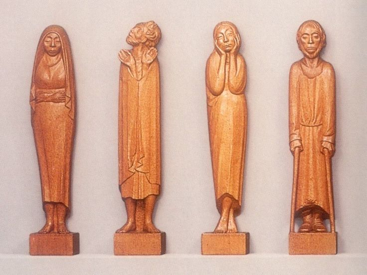 Here are four of Ernst Barlach's nine Listeners, an enigmatic series of 110 cm figures carved in oak 1930-1935. I greatly admire Barlach, who was born in 1870 near Hamburg. His direct figure carving produces, I once wrote, a 'loving, but lonely, vision of humanity'. Barlach was hated by the Nazis, especially his 1914-18 war memorials, which they destroyed as over-emphasising compassion over heroism. (Ernst Barlach Haus, Hamburg).