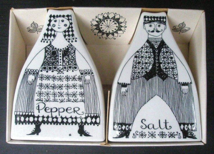 Figgjo Fajanse Norway Turi Lotte Black Salt Pepper Shakers Unused with Box | eBay