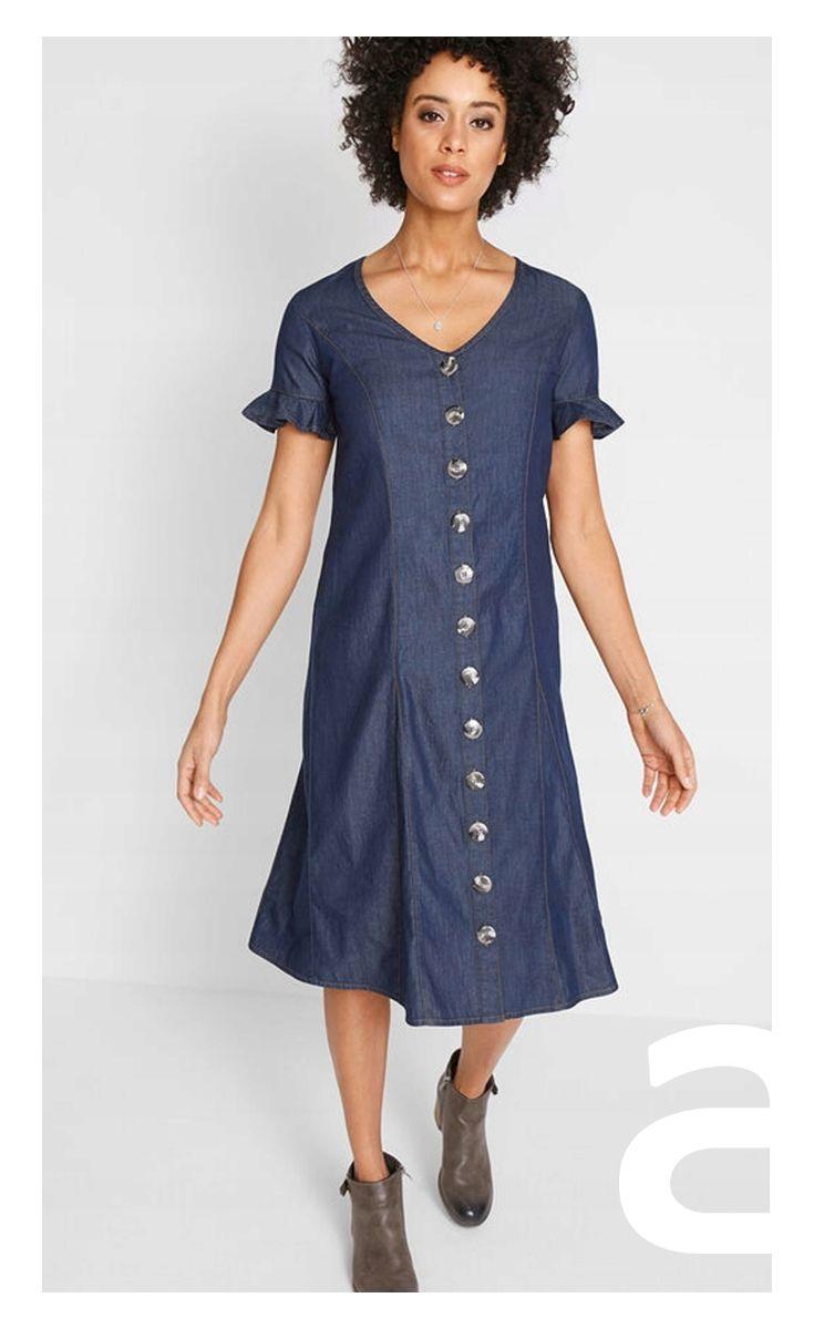 Letnia Sukienka Ciekawa Stylizacja Moda Damska Sukienka Midi Jeansowa Sukienka Sukienka Z Guzikami Dresses Dresses With Sleeves Casual Dress