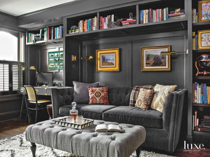 Dark Gray Paint Adds Sophistication to Built In Cabinetry in Chicago Row  House Den. Best 20  Dark gray sofa ideas on Pinterest   Gray couch decor