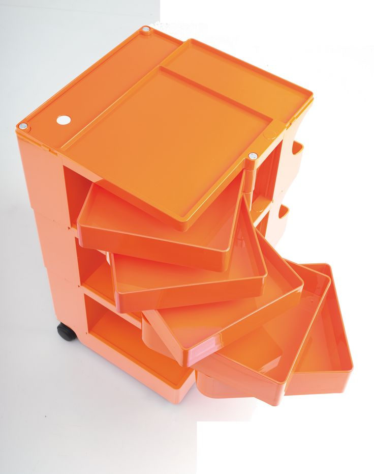 BOBY trolley in orange #design by Joe Colombo 1970 .. #vintage colour #ABS plastic
