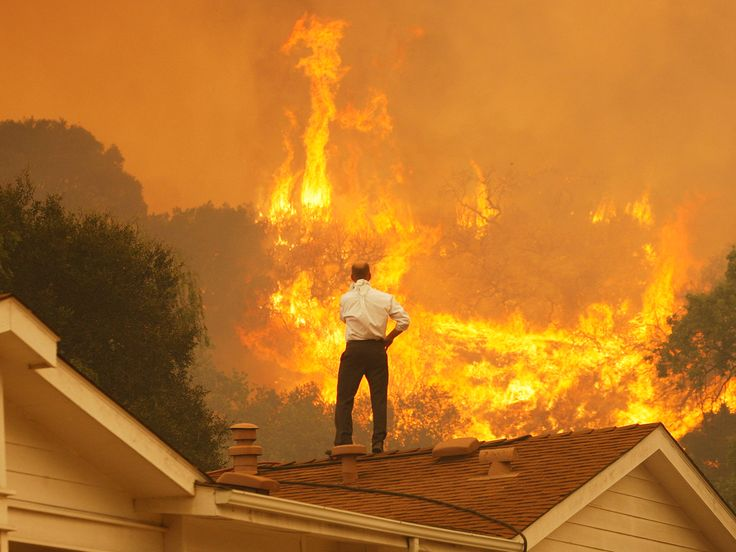 A Man Watches The Approaching Flames As Springs Fire Continues To Grow Near Camarillo California On May Wildfire Has Spread More Than Acres