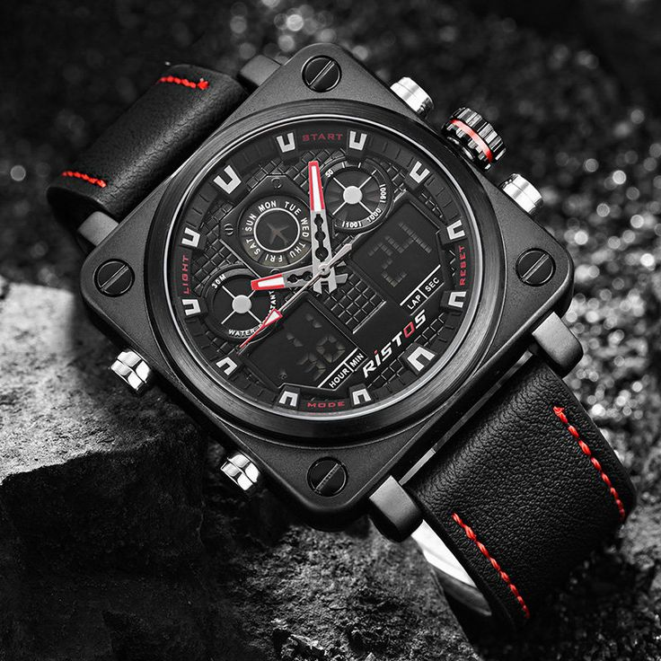 Stylish Square Watches Chronograph Dual Display Leather Band Digital Watch Big Watches