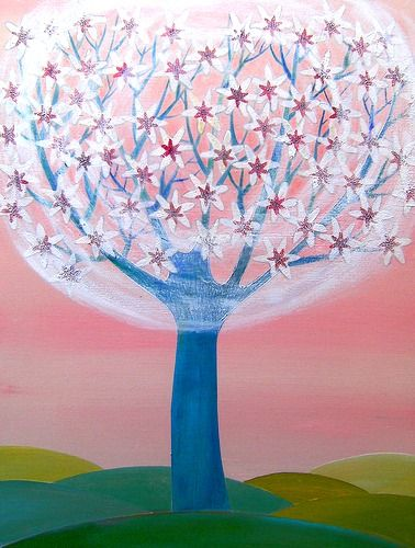 Fiorire by Tiziana Rinaldi #art #painting #tree #flowers #blossoms #spring #pink