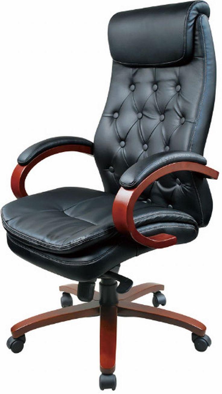 Fotel obrotowy ODOM. Tapicerka: eko-skóra. Podłokietniki drewniane z nakładką tapicerowaną eko-skórą. Podstawa drewniana. Wybarwienie drewna: wiśnia. Mechanizm: MULTIBLOCK. Wysokość siedziska regulowana podnośnikiem pneumatycznym.