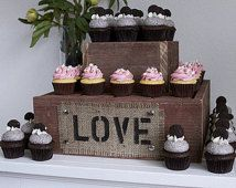 Love Burlap and Reclaimed Wood 2 Tier Cake Stand , Rustic Wedding, Personalized Cake Stand, Wood Cake Stand