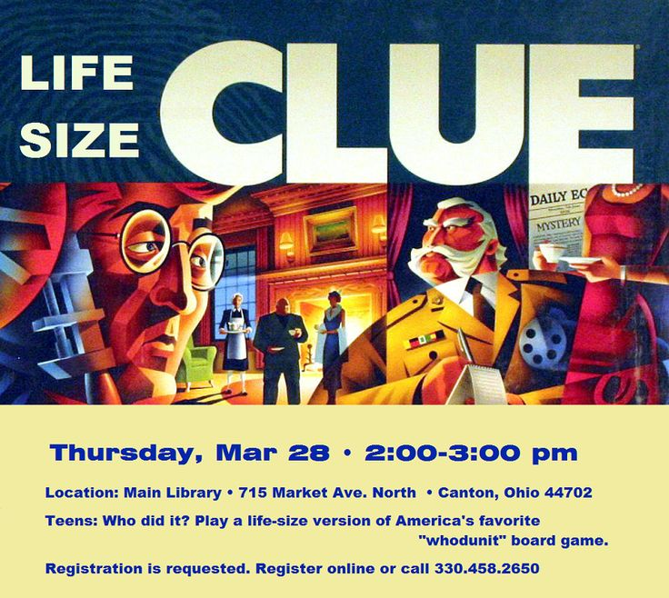 """Life Size Clue Teens: Who did it? Play a life-size version of America's favorite """"whodunit"""" board game."""