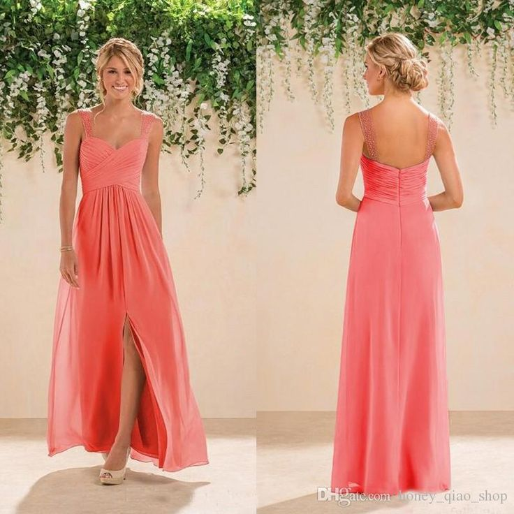 2017 Country Bridesmaids Dresses Long A line Chiffon Spaghetti Backless Beaded Prom Gowns Cheap Bridesmaid Gowns
