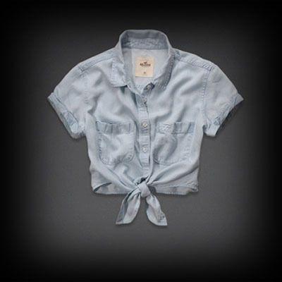 ホリスター レディース シャツ Hollister Calabasas Denim Shirt シャツ ★丈短めなので、ワンピースとも相性抜群です。 ★ホリスターを代表するカモメのLOGOマークの刺繍がされてます。
