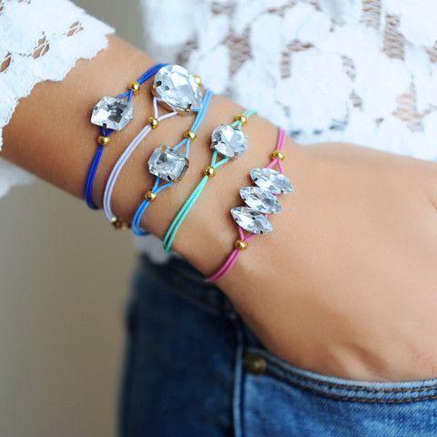 DIY Jewelry: DIY Rhinestone Cord Bracelet Kit (set of 5) | Wander & Hunt