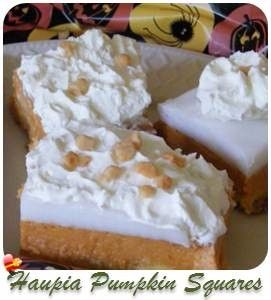 A delicious Pumpkin Haupia Pie dessert anytime of the year. Get more Hawaiian and local style recipes here.