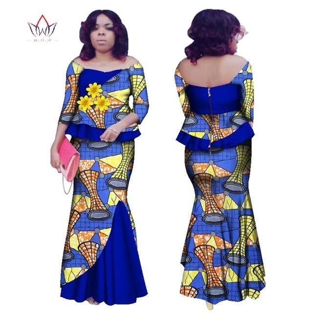 5c53cfdb9e BRW 2018 New design Autumn African skirt set for women Bazin Plus Size  African Clothing Dashiki Three Flowers Women Set WY2422