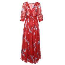 Nova Verão 2017 das mulheres do vintage pescoço v meia manga Uma linha Chiffon plissada longa maxi vestido de praia ocasional impressão guindaste vermelho vestidos(China (Mainland))