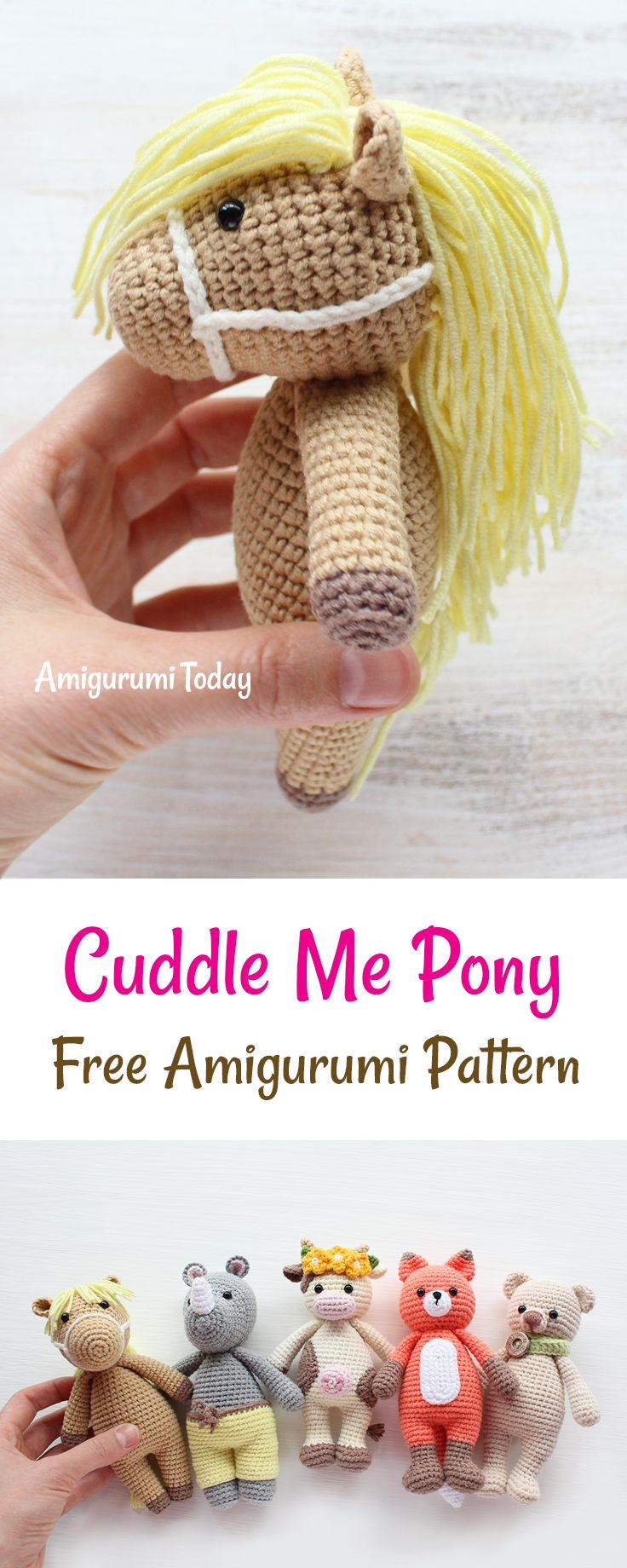 This crochet pony is another addition to our Cuddle Me Toy collection. Whether you use it as a cuddly toy or a playmate, Cuddle Me Pony will make many dreams come true for all young pony lovers. It will make a great gift :)