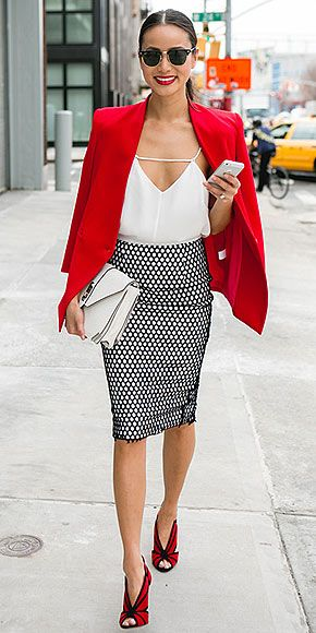 Red blazer + black and white printed pencil skirt