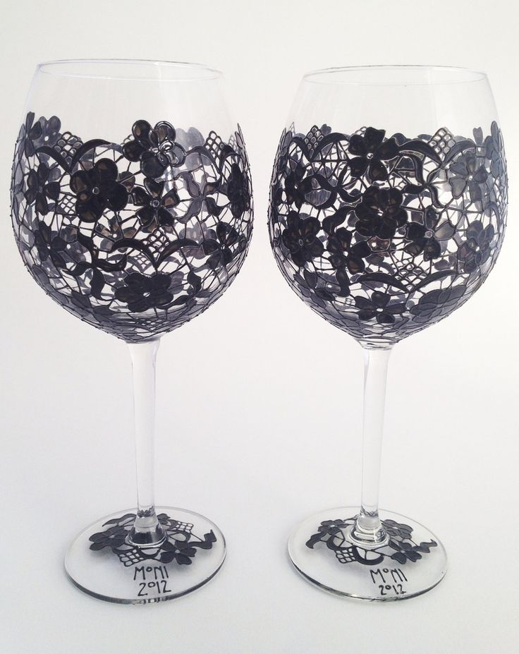 Painted wine glasses, must do this!