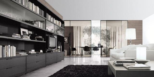cloison coulissante en verre, salon et office à domicile