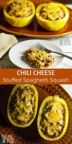 Spaghetti squash is stirred into spicy chili seasoned ground beef mixture and then layered with cheese in this chili cheese stuffed spaghetti squash recipe. #lowcarb #keto   LowCarbYum.com via @lowcarbyum