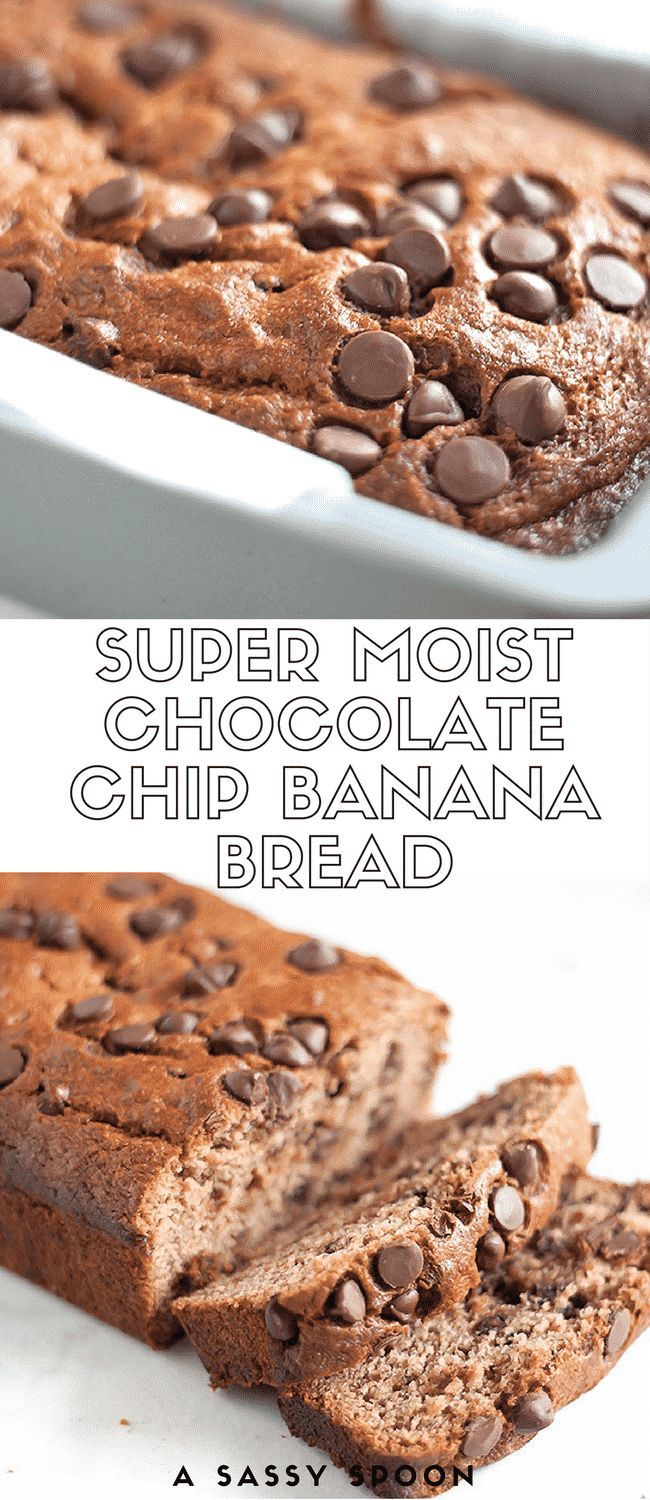 Super moist and deliciously sweet banana bread made with whole wheat flour, brown sugar, and dark chocolate chips! via /asassyspoon/