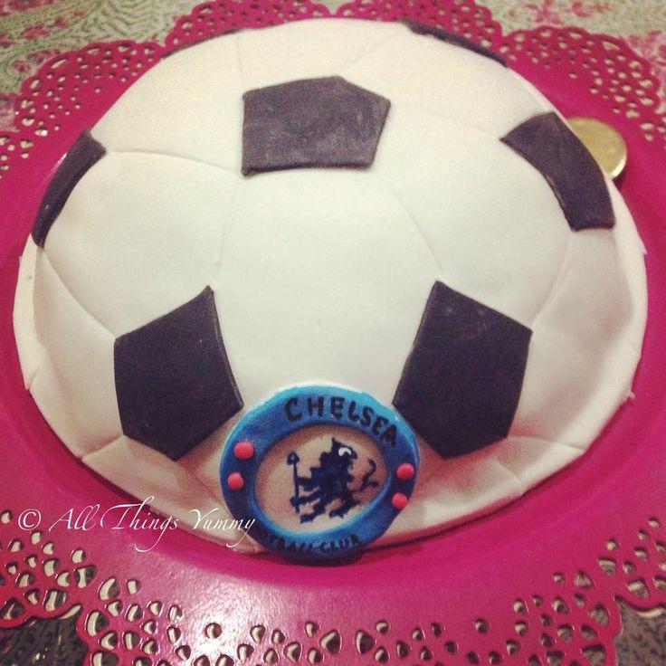 Birthday Cakes for Boys - Football Shaped Fondant Cake with Chelsea Symbol   All Things Yummy #chelseafan #epl #football #soccer #soccerfan #cake #footballcake #chelsealogo #chelsea #atyummy