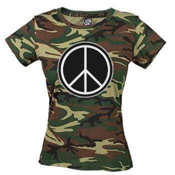 Peace Sign Green Camo Women's T-Shirt $28.99 #peace #cnd #camouflage #tshirt