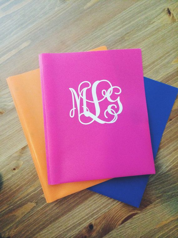 Monogrammed School Supplies - Folders by PrettyLettersShop on Etsy, $5.00