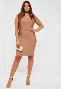 Plus Size Camel Harness Strap Bandage Bodycon Dress