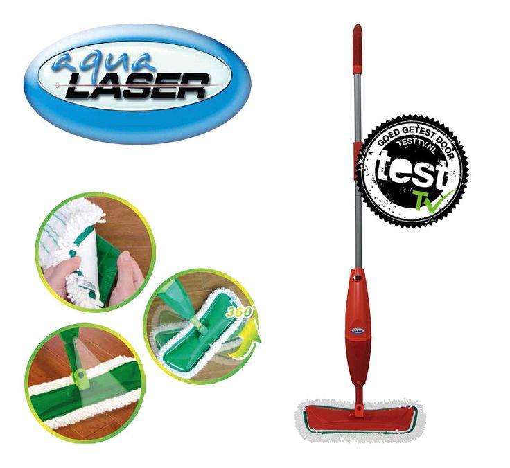 Aqua Laser Spray Mop Rood  Description: Je vloer reinigen en daarna meteen droogtrekken met één apparaat. Onmogelijk? Niet met de Aqua Laser Spray Mop: dé nieuwe hulp bij het huishouden! Ben je het beu om veel tijd te besteden aan schoonmaken? Gebruik dan de Aqua Laser Spray Mop en je vloeren zien er in zeer korte tijd schoner uit dan ooit. Hoe? De Spray Mop reinigt én droogt je vloeren. Eén apparaat één handeling. Je hoeft nooit meer moeilijk te doen met een emmer en dweil!Hardnekkige…