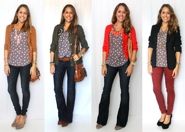 J's Everyday Fashion: Today's Everyday Fashion: One Top, Four Ways