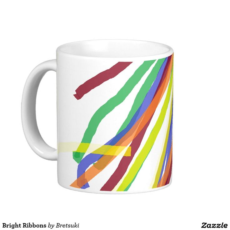 Bright Ribbons Coffee Mug Colored Lines Imitate Bright Colorful Ribbons  Floating On A Breeze.