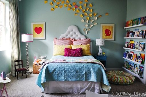 butterfly girls bedroom decor via lilblueboo.com - I love the silhouette artwork: Wall Color, Kids Room, Big Girl, Girls Bedroom, Girls Room, Bedrooms, Bedroom Ideas, Girl Rooms