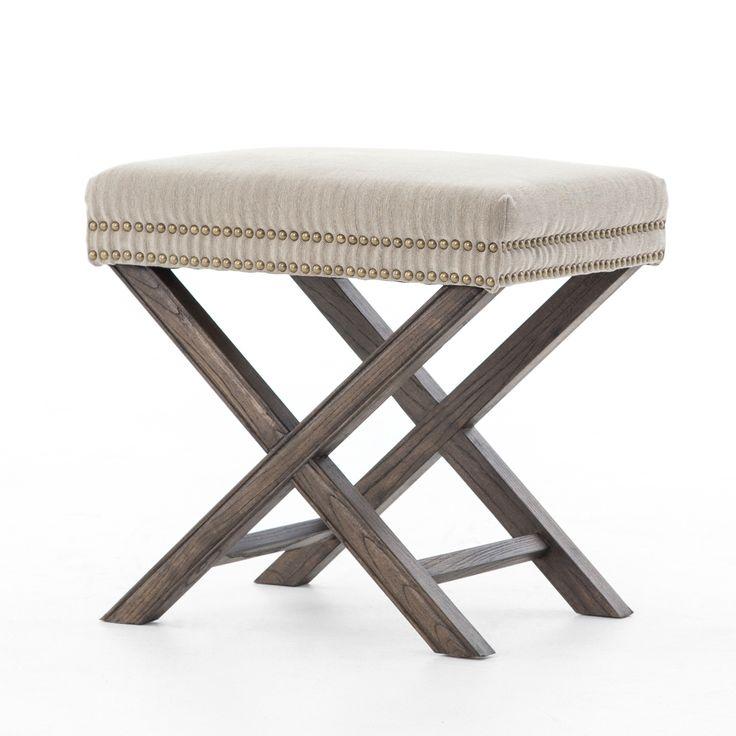 French Modern X Base Upholstered Stool Ottoman Upholstered StoolMaster ClosetLiving Room