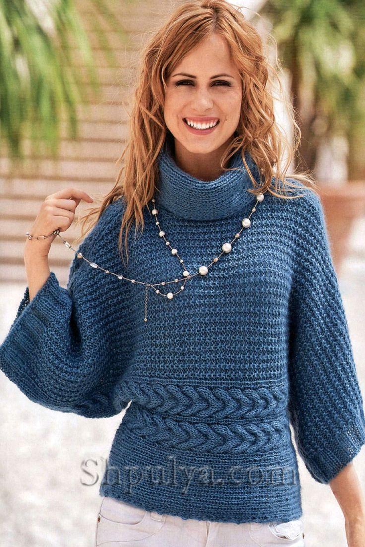 Голубой пуловер-кимоно, вязаный спицами