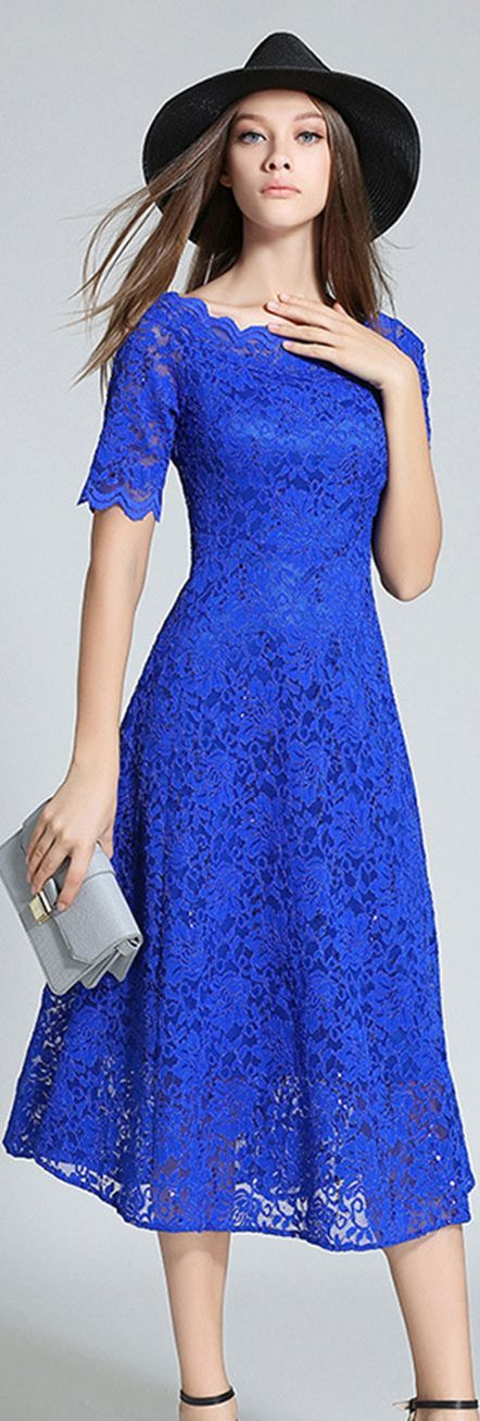 Royal Blue Lace Dress, except a veil for Church, not that hat
