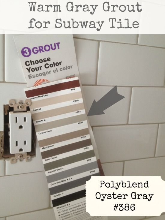 """Warm Gray Grout for Subway Tile:  Polyblend """"Oyster Gray"""" #386. (Both the tile and the grout came from Daltile. The color of the tile is 0910.)"""