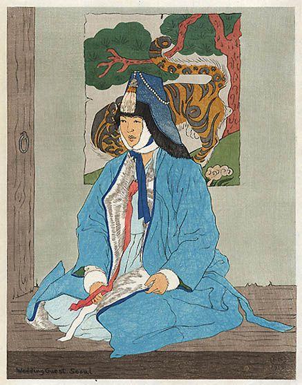 hanga gallery . . . torii gallery: Wedding Guest, Seoul by Elizabeth Keith