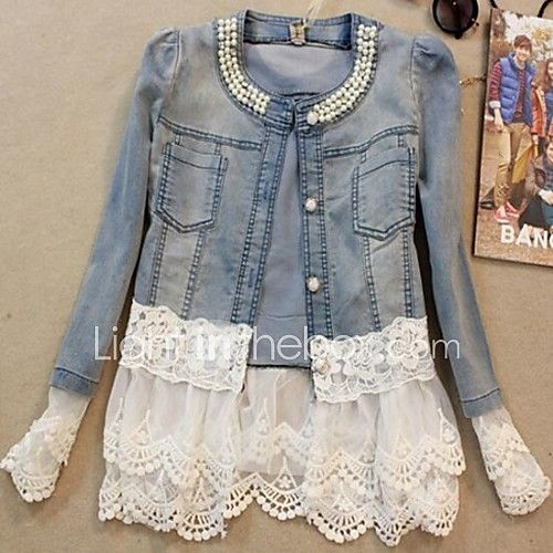 Women's Casual/Daily Antique Vintage Cute Spring Fall Denim Jacket,Solid Round Neck Long Sleeve Short Beaded Lace 2017 - $16.19