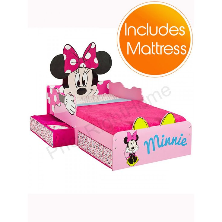 Minnie Mouse Toddler Bed With Storage Plus Fully Sprung Mattress