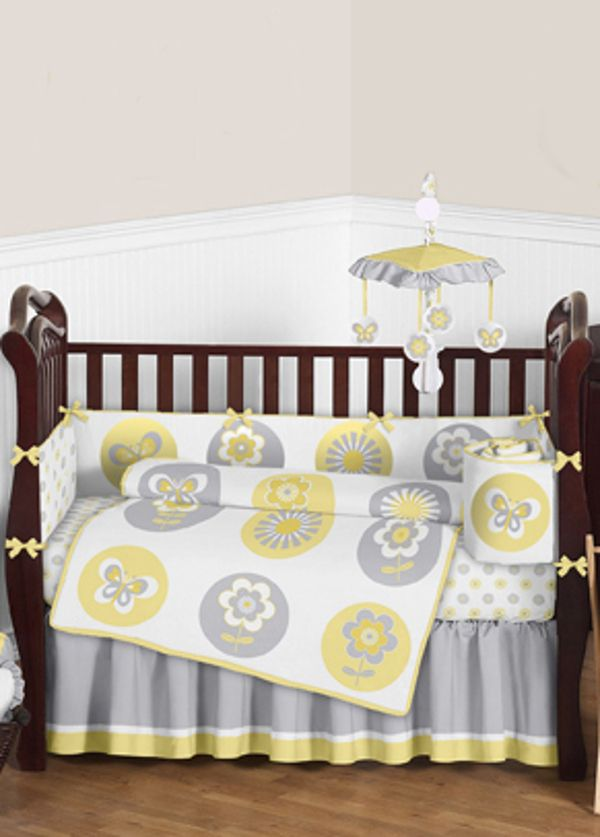 adorable and modern yellow and gray mod garden baby bedding 9 piece crib set for your