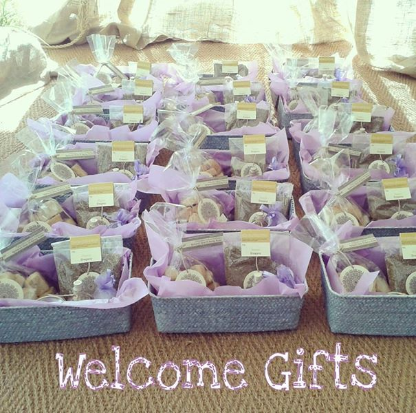 Wedding welcome gift / Barley rasks, Olive tapenade, Liquer, Oregano, Pouch with sugared almonds