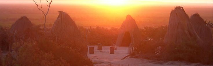 Sunset over the replica traditional village at !Khwa ttu