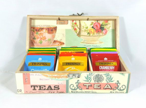 Tea Box Decoupage Tea Box Tea Storage Mother's by QuirkyArtsHere