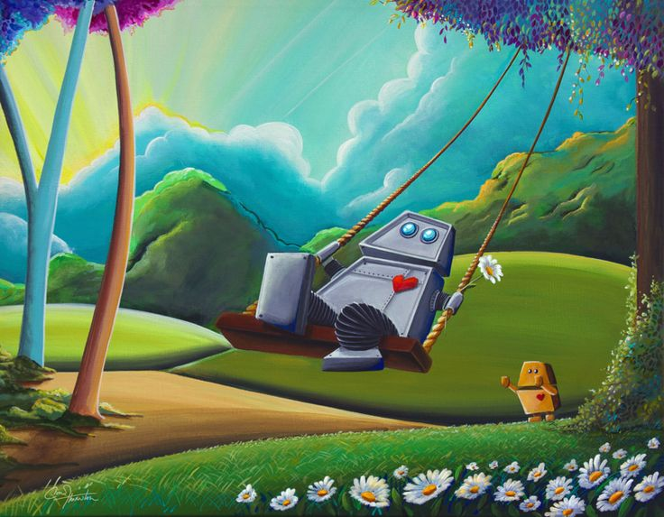 """Status: Sold """"The Swing"""" – Robot Series 16×20″ original acrylic on stretched canvas painting. Part of my robot collection that is heading to Taipei for an internationa…"""
