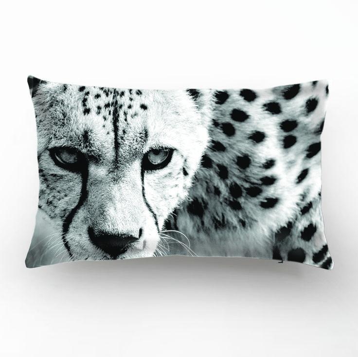 Leopard Design, Animal, Black&White Decorative Pillow Cover,