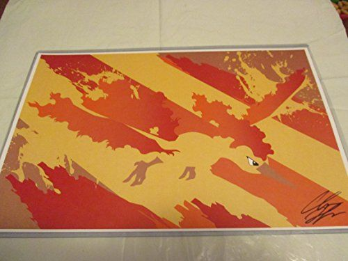 """POKEMON MOLTRES !! 11"""" By 17"""" Limited Edition Print Signed By Chris Huffman W/coa"""